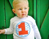 Custom Listing- Camden's Collection Birthday Applique Number Tee, Birthday Boy T-Shirt, Royal Blue on Little Blue Truck Circle