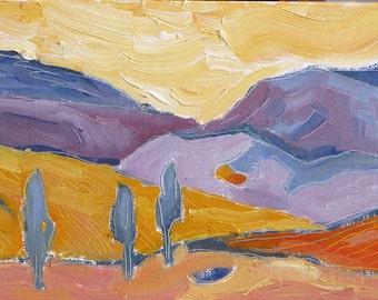 Sizzling Sky, Framed  original oil painting. Yvonne Wagner. 5 x 7 inch (13 x 18 cm) Orange. Sky. Mountains. Modern. Landscape painting.