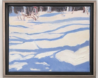 Through the Woods, Framed  original oil painting by Yvonne Wagner. Shadows. Winter. Snow. 8 x 10 inch (20 x 25 cm) Free Shipping to the USA.