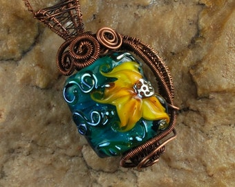 Wire Wrapped Pendant Necklace, Lampwork Necklace, SunFlower, Copper Wire #N405