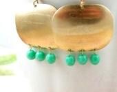 Geometric Earrings Dangle Earrings Teal Earrings Boho Earrings Bohemian Pendant Blue Green Geometric Jewelry