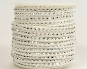 Faux Suede - 3mm Flat Studded - White - 5 Feet
