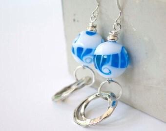 Wave Earrings, Beach Earrings, Nautical Earrings, Lampwork Glass Earrings, Glass Bead Earrings, Metal Drop Earrings