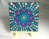 Original Dot Mandala Acrylic Mini Painting with Easel