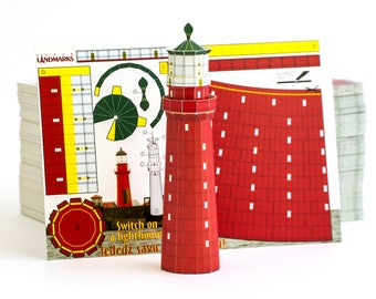 Kolka Lighthouse, postcard paper scale model
