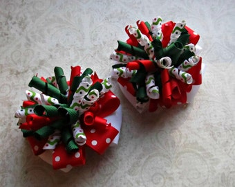 Girls Christmas Bows- Red White Green- Pigtail Bows- Baby Girl Bows- Toddler Bows