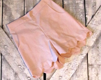 Girls Light Pink Custom Scallop Edge Shorts- Baby Girl Shorts- Toddler Shorts- Tween Shorts- 3 6 12 18 Mths- 2 3 4 5 6 7 8 10 12 Years