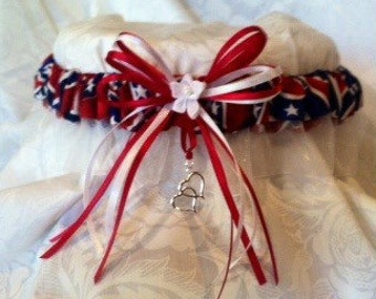 Red white and blue-bars and stars rebel garter