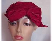 Magenta Pink Velvet Beret, Vintage Ladies Tam, Super Soft Hat, Boho Floppy Bow Size 22 1/2, Festival Hat