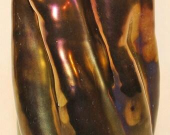 Halmos Hungarian Pottery Eosin Glazed Twisted and Folded Vase
