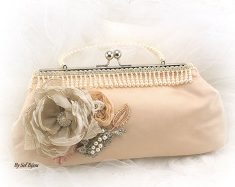 Purse, Champagne, Blush, Ivory, Handbag, Pearl Handle, Bridal, Mother of the Bride, Tulle, Lace, Pearls, Crystals, Brooch, Vintage Wedding