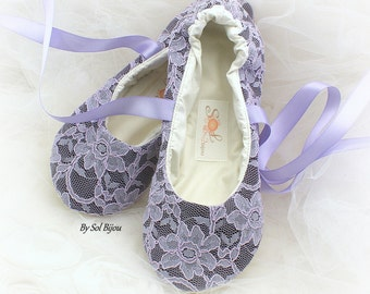 Lace Wedding Flats Shoes in Purple Plum Lilac, Ballet Flats Custom Shoes
