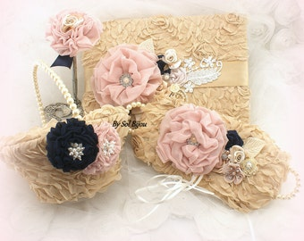 Ring Bearer Pillow, Ring Tray, Flower Girl Basket,Navy Blue,Ivory, Gold, Tan,Blush,Alternative Pillow,Elegant Wedding, Pearls, Crystals