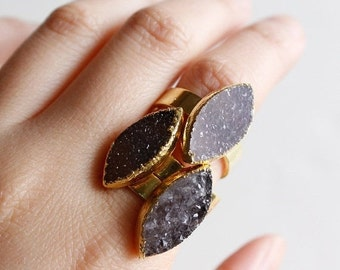 ON SALE Black and Brown Druzy Quartz Gemstone Rings - Leaf Druzy Stone - Adjustable Rings