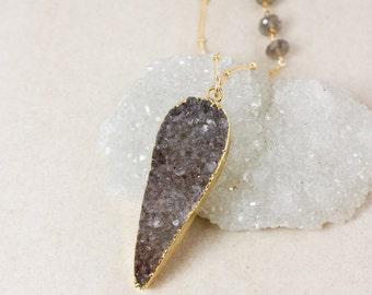 Grey Teardrop Druzy Necklace – Choose Your Druzy – Blue Labradorite