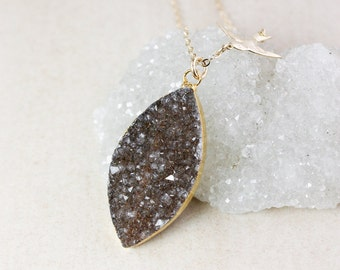 Natural Agate Druzy Necklace – Choose Your Druzy – Swallow Charm