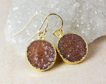 Round Druzy Dangle Earrings – Choose Your Druzy – 14k Gold Fill/925 Sterling Silver