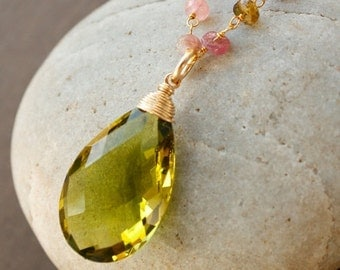 40 OFF SALE August Green Peridot and Rainbow Tourmaline Necklace - 14KT Gold Fill - August Birthstone