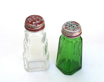 retro salt and pepper  shakers ...  vintage farmhouse kitchen glass and metal  shaker   … mismatched