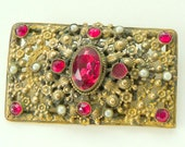Brooch - Oblong - Ornate - Brass - RUBY Red Stones - 1940s - Vintage  - Rectangle - Floral - Rococo - Recycled - RARE - Romantic