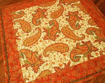 Orange Paisley Quilted Table Topper, Orange and Green Paisley, Autumn Table Topper, Fall Leaves, Quilted Table Mat, Thanksgiving Table Decor