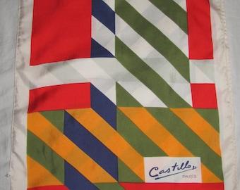 Vintage Castillo Paris Rectangular Silk Scarf - Bright Diagonal Stripes - Gold, Blue, Red, White - Long Silk Scarf
