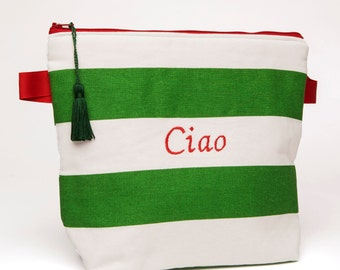 Cosmetic Bag /Toiletry Pouch / Travel Tote / Beauty Tote - CIAO !!! Colors of Italy- Cosemetic Bag with Tassel
