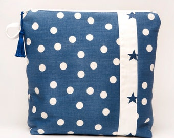 Cosmetic Bag / Toiletry Pouch / Travel Tote / Beauty Tote - Preppy Dots on Blue - Cosmetic Tote