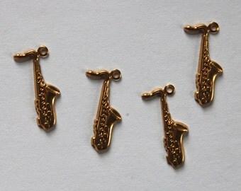 Raw Brass Saxophone horn Stamping Pendants 4 Metal Stampings 20mm