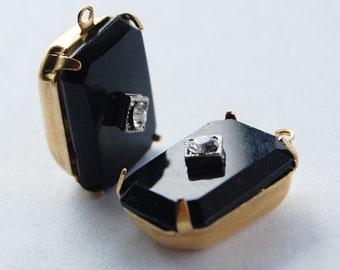 Vintage Jet Black Glass Octagon Pendant Beads Swarovski Rhinestone Embedment 18x13mm