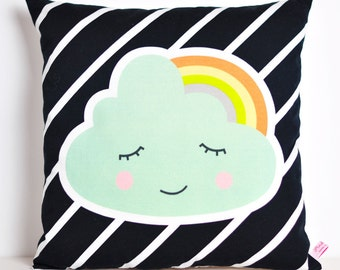 decorative pillow for kids room with cloud and rainbow in mint and black and white stripes - 12 inch / 30 cm
