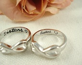 2 Sterling silver  stamped sorority (Sisters with a heart) Infinity rings, friendship, college ring, big and little sisters ring