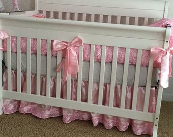 Bumperless Custom Bedding, Baby Pink 3D Roses 3 or 4 Piece Baby Bedding, Roses and Silver Baby Bedding, Crib Bedding