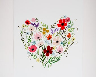 Floral Heart - Painted Flowers - 8 x 10 - Watercolor - Illustration - Art Print