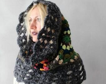 Oversized Cowl- Chunky Cowl- Womens Hood Scarf, Hooded Cowl, Gift for Her- Hooded Scarf, Crochet Cowl, Womens Snood, Winter Accessories Hood