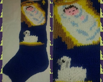 Hand-knitted Christ Child Christmas Stocking