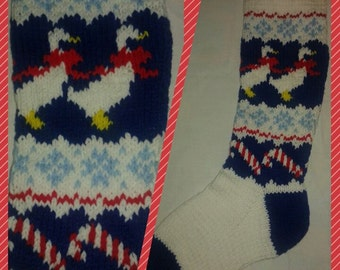 Handknitted Traditional Christmas Stocking with Ducks