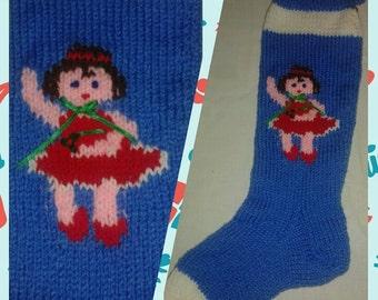 Hand-Knitted Sugar Plum Ballerina Christmas Stocking