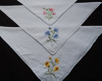 embroidered handkerchief collection vintage floral hankies hanky wedding project