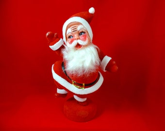 1960's flocked Santa Claus. jolly dancing Santa / fuzzy beard centerpiece.