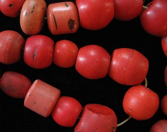 Strand of Sherpa Beads from Nepal, Antique Glass Coral Beads