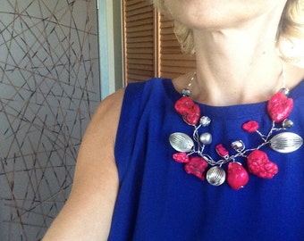 Statement Necklace, Bib, Collar, Large Stone, Red, Sliver, Modern, Wire Wrapped, Wearable Art, One of a Kind, Wedding