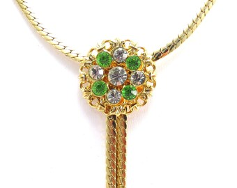 Rhinestone Pendant Flat Goldtone Chain Necklace Vintage 1970s / 1980s Gold Omega Chain