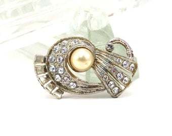 Art Deco Mini Brooch Vintage 1930s Rhinestone and Faux Pearl Broach