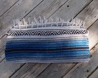 Vintage Mexican Blanket Blue Gray Grey White Black Stripes Tribal Southwestern Home Decor