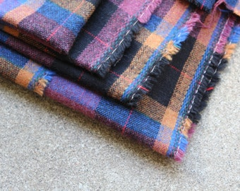 Vintage Fabric Wool Suiting Plaid Blue Black Mauve Mustard Yardage Sewing Supplies