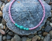Beaded Friendship Bracelet, Stackable, Simple, Delicate Jewelry, Gypsy, Boho, Silver, Turquoise, Bangle