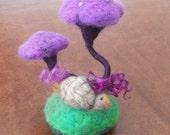 Hand Felted, Needle felted, Purple Mushroom, Toadstool, Fungi Pin Cushion, Magical Mushroom, Mushroom Ornament, Sewing gift, Needles  Pins