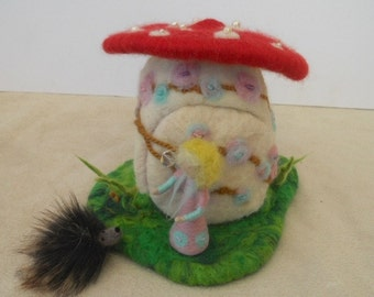 A Giant Mushroom House Fairy Home Waldorf Play Scape play Mat with miniature shroom fairy and a porcupine