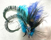Hair Fascinator PEACOCK Feathers Rhinestone hair clip brooch~ Just made in Canada